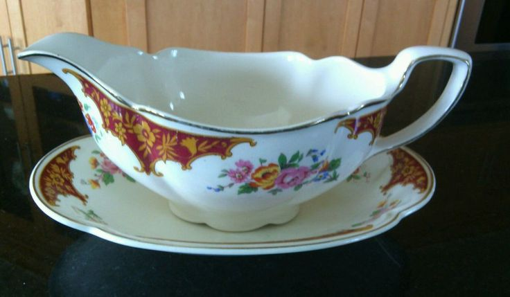 Vintage Pareek China Gravy Boat Dish Johnson Brothers Floral Design Dinner Ware | eBay