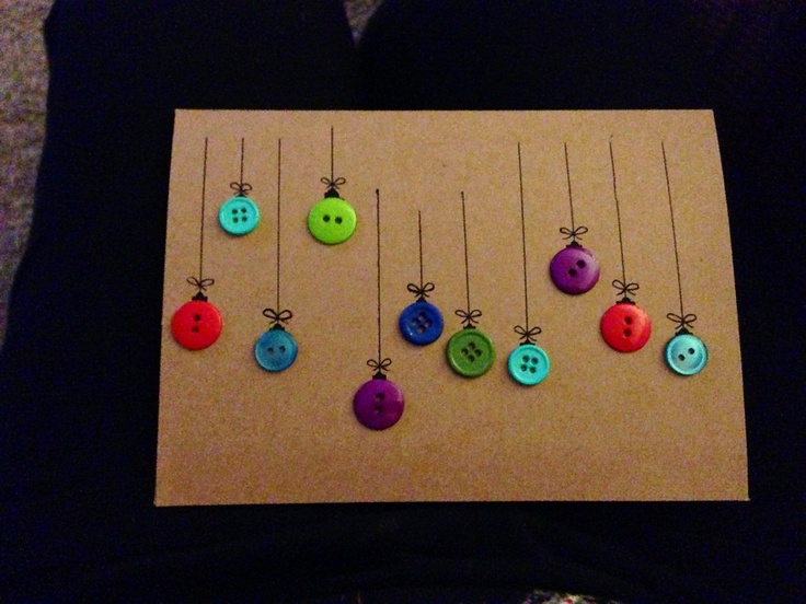 DIY easy xmas card. + good way to get rid of those extra buttons!