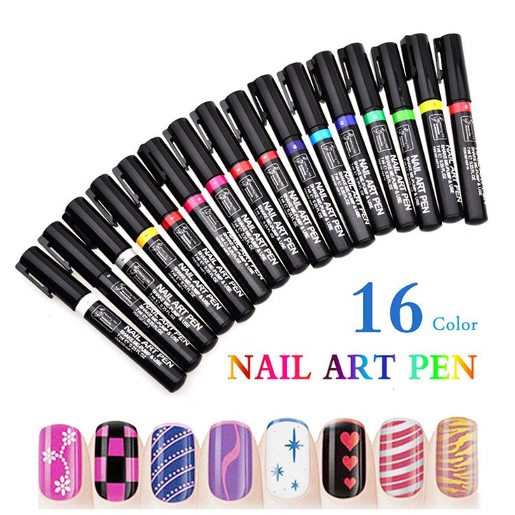 16 Candy Colors Nail Art Pen For Diy Decoration Polish Set