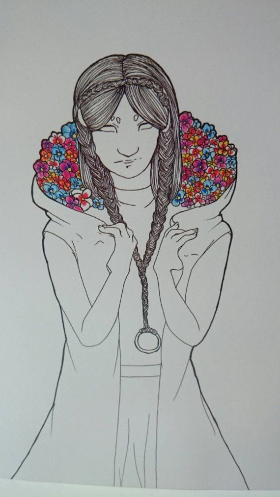 Check out this item in my Etsy shop https://www.etsy.com/listing/222817606/forget-me-not-flowers-in-a-ladys-hood-a4
