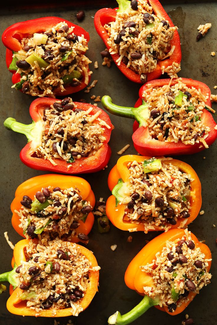 HEALTHY Cauliflower Rice Stuffed Peppers! Protein and fiber rich and so easy! #vegan #glutenfree #plantbased #recipe
