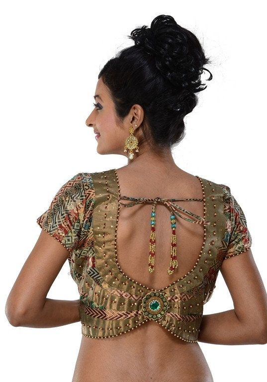 Designer Gold Indian Sari Blouse Saree top Saree by SarisAndThings, $99.00