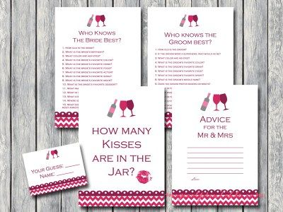 winery bridal shower, wine themed bridal shower game pack, instant download, printable games bs110