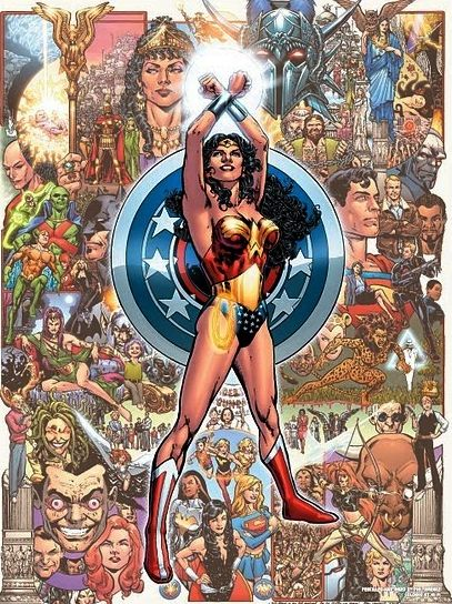 The Wonder Woman Universe, Phil Jimenez, JLA, poster, beautiful art, Donna Troy, history, Golden Age, Silver Age