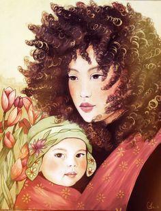 Madre y el niño día ventoso impresión de arte