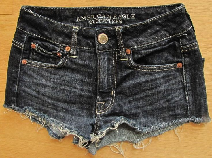American Eagle Shorts 00 Festival Shortie denim Jean Cutoff stretch Blue Raw hem #AmericanEagleOutfitters #Denim