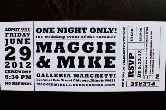 Concert ticket wedding invitation by HobartandHaven on Etsy, $350 - invitations that look like concert tickets