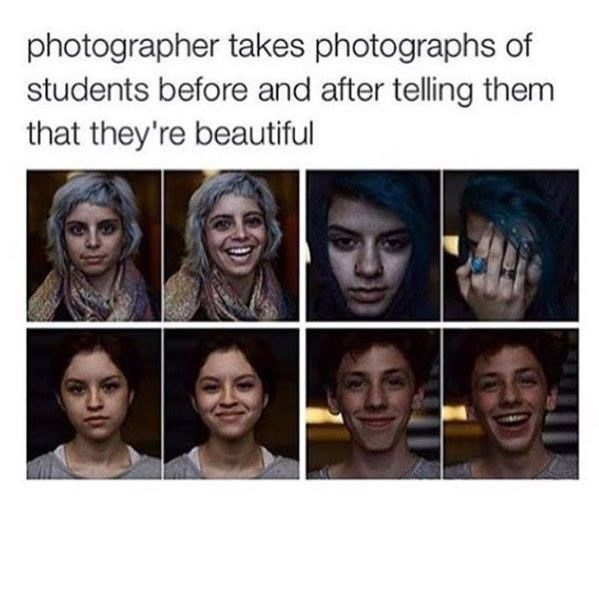 Photographer takes photographs of students before and after telling them that they're beautiful.