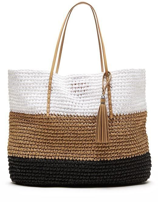 color block straw tote