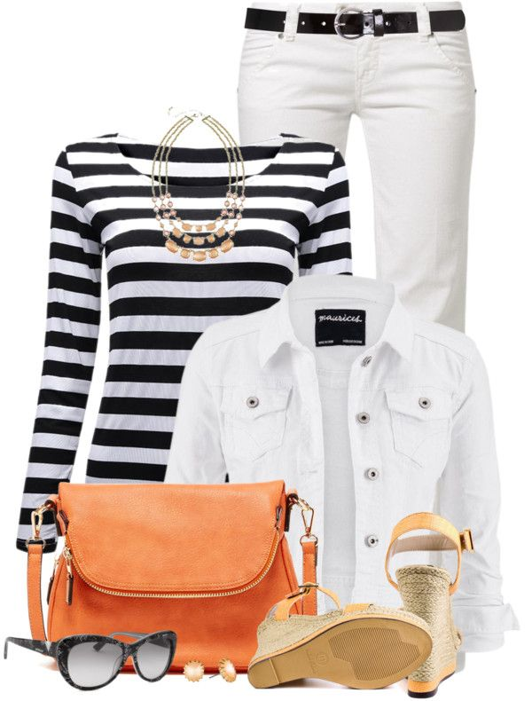 Black and white with orange pop casual spring outfit