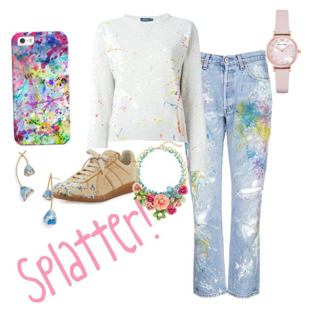 """""""Splatter"""" by drumsewsingjo ❤ liked on Polyvore featuring Casetify, Rialto Jean Project, Polo Ralph Lauren, Maison Margiela, Emporio Armani and Tory Burch"""