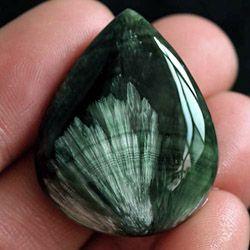 Серафинит, камень кабошон