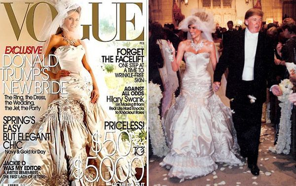 Melania Knauss wore this John Galliano dress in 2005, when she married Donald Trump. This amazing wedding dress created of white duchesse satin weighs 50 pounds, and features 1 500 pearls, crystal and rhinestones.