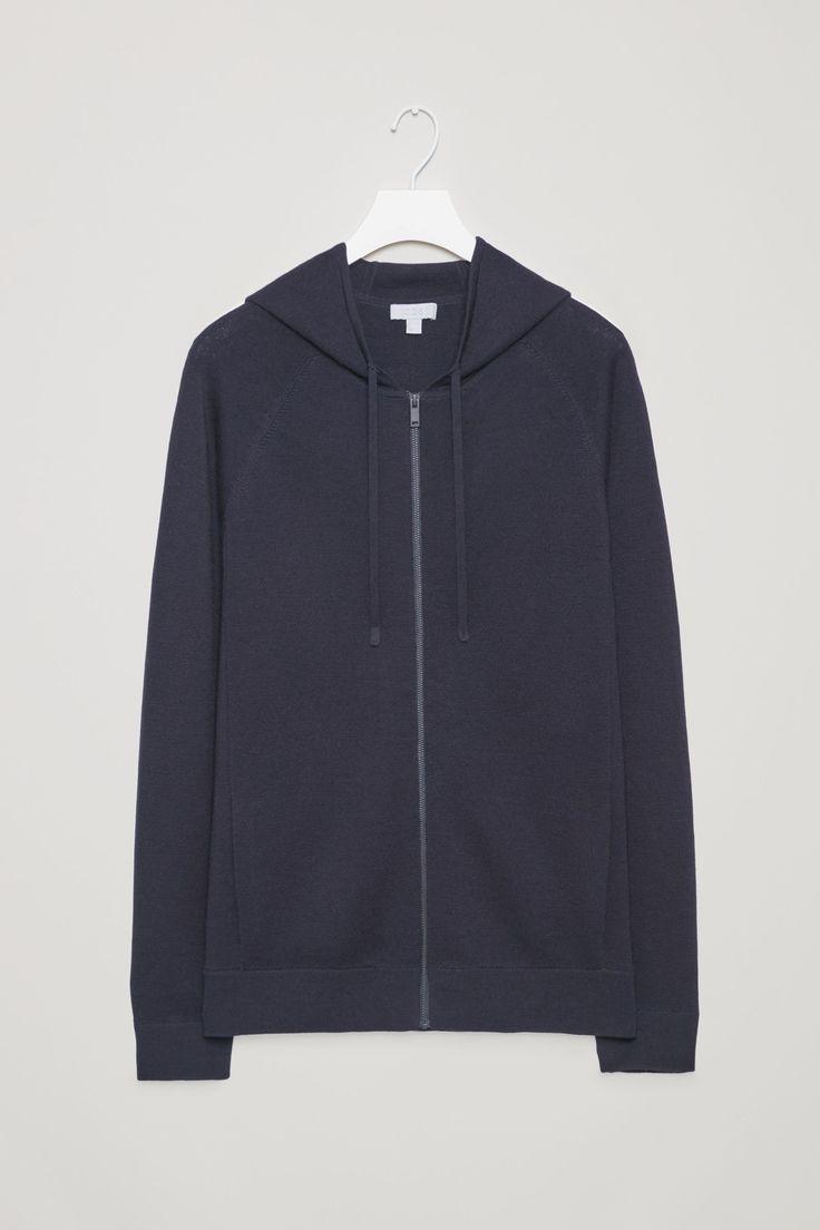 COS image 4 of Merino knit hoodie in Navy