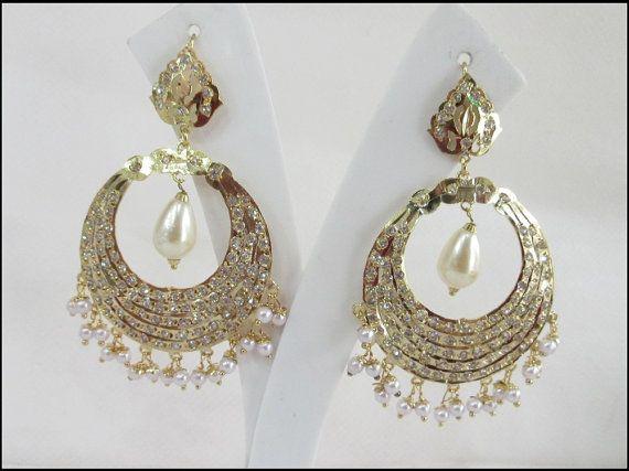 Handmade Gold Jadau Chand Bali Earrings with Pearl by Beauteshoppe