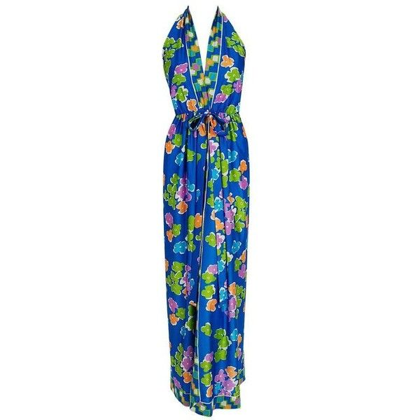 Preowned 1970's Oscar De La Renta Colorful Silk-jersey Print Halter... ($1,100) ❤ liked on Polyvore featuring dresses, aesthetic day dresses, blue, blue dress, halter-neck maxi dresses, plunge maxi dress, halter top and backless halter dress