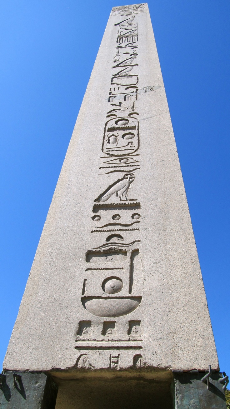 Obelisk in Hippodrome-originally made in Egypt 1479-1425 BC, but brought to Constantinople by Roman Emperor Theodosius I in late 4th century AD. A second was brought to the Circus Maximus in Rome. in istanbul sultanahmet