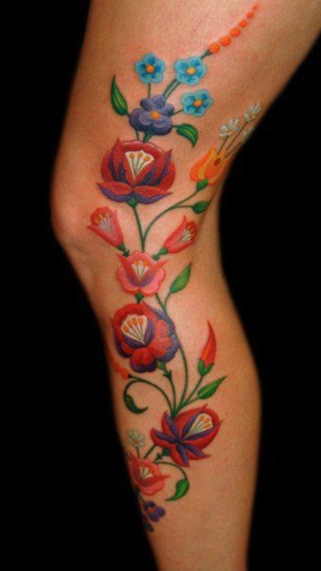 Polish folk art - interpreted. Polish folk art magnolia tattoo? Obviously not on my leg but ya know