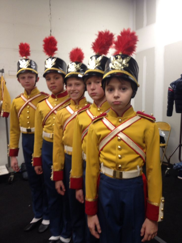 The boys and their soldier costumes for the nutcracker at the New York City ballet