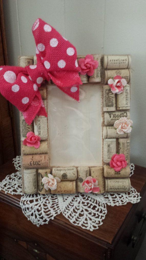 cornice foto 4 x 6 con fiocco pois rosa fiori di carta e