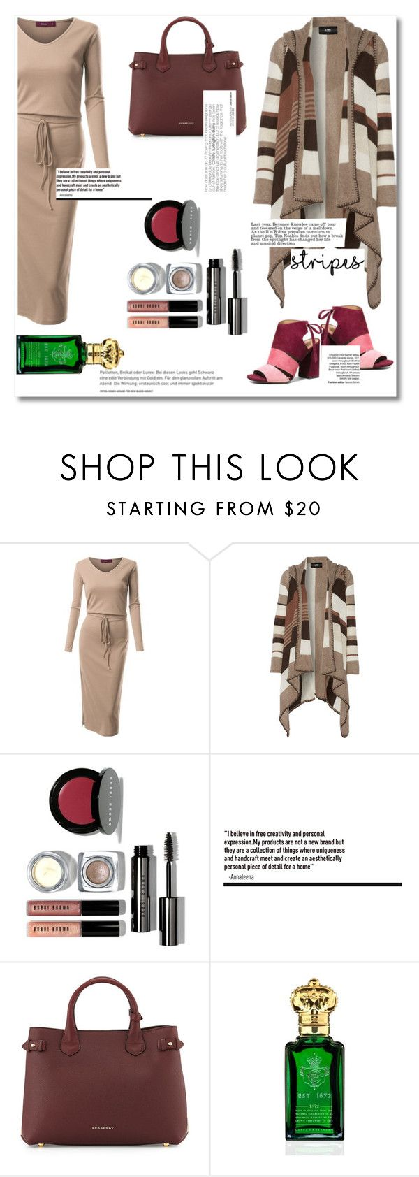 """""""Rayas anchas.."""" by alexarbrito ❤ liked on Polyvore featuring Doublju, Line, Bobbi Brown Cosmetics, Burberry, Clive Christian and Coach"""
