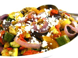 """For """"Meatless Mondays"""" Deliciously Skinny, Roasted Ratatouille! Once roasted, you can scramble with eggs, stuff a baked potato or serve over brown rice or quinoa .One serving has 94 calories, 3.8 grams of fat and 2 Weight Watchers POINTS PLUS. http://www.skinnykitchen.com/recipes/deliciously-skinny-roasted-ratatouille/"""