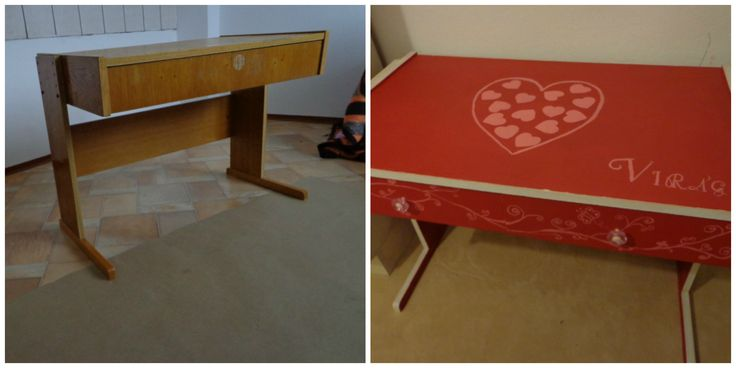 Bútorfelújítás 2. Kislányomnak egy íróasztalt festettem Annie Sloan festékkel.