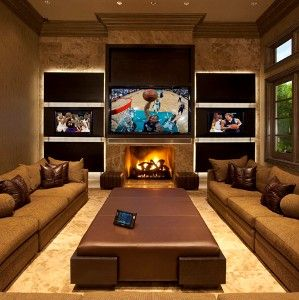 the runco 103 inch 1080p plasmawall display is flanked by on smart man cave basement ideas id=27667