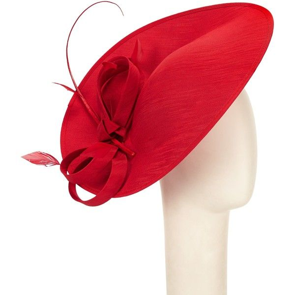 John Lewis Alex Shantung Oval Disc Occasion Hat , Red (£60) ❤ liked on Polyvore featuring accessories, hats, red, bow hat, feather hat, john lewis hats, cocktail hat and red hat