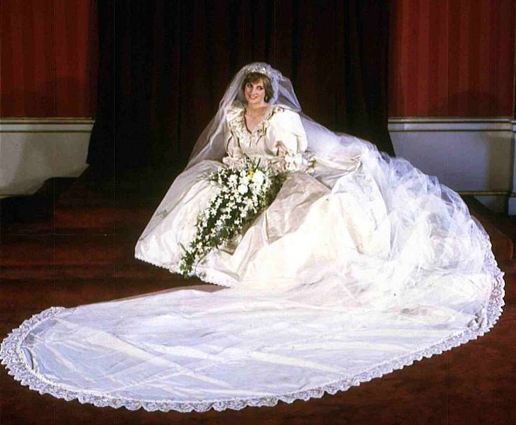 The Most Expensive Wedding Gowns in the World  #2 Princess Diana's Wedding Gown by David and Elizabeth Emanuel Princess Diana's iconic wedding dress (when she married Prince Charles) was designed and created by David and Elizabeth Emanuel.  The beautiful gown is made of antique lace and pure ivory silk taffeta, with a 25-foot train.  It is adorned with 10,000 pearls and sequins, manually sewn with gold thread.