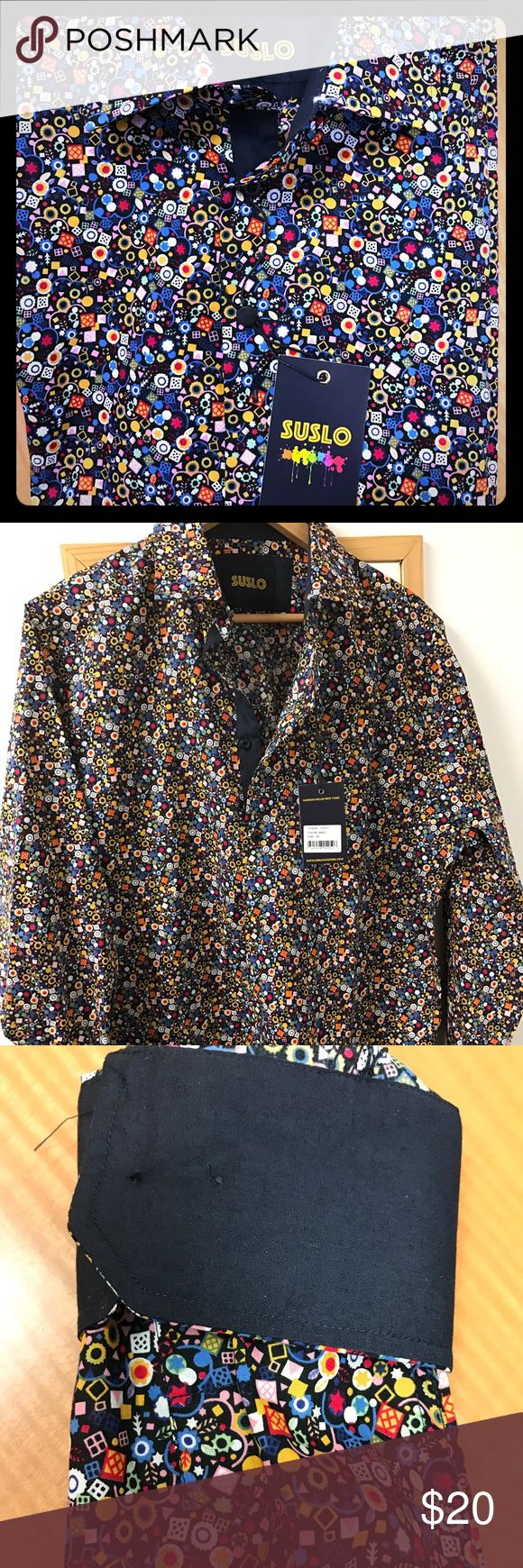 Man's shirt Brand new men's XL sushi brand shirt. Colorful design all over with navy blue cuffs Suslo Shirts Casual Button Down Shirts