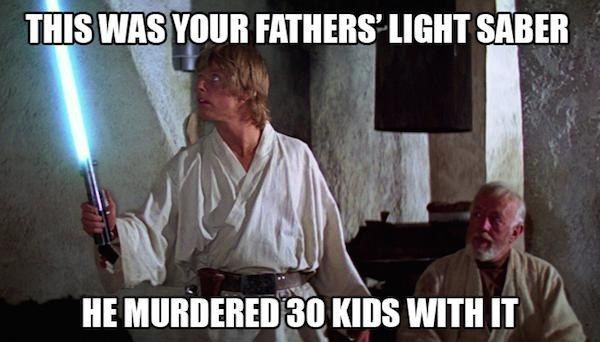 "The truth about Luke's most cherished possession: | The 20 Best ""Star Wars"" Memes"