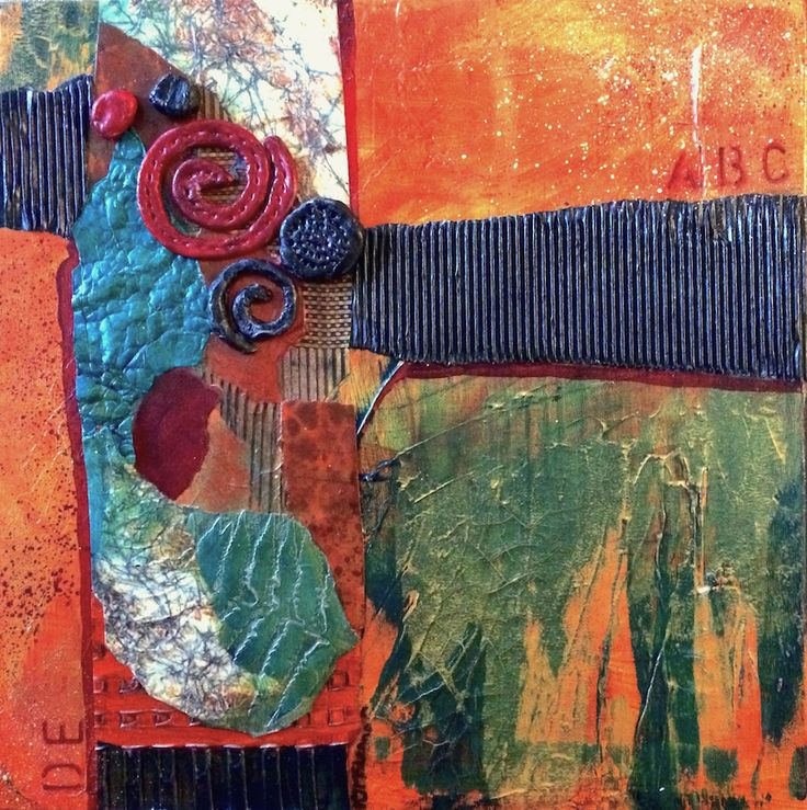 Original Art by Kim McLennan  12 x 12 Mixed Media Collage on Canvas