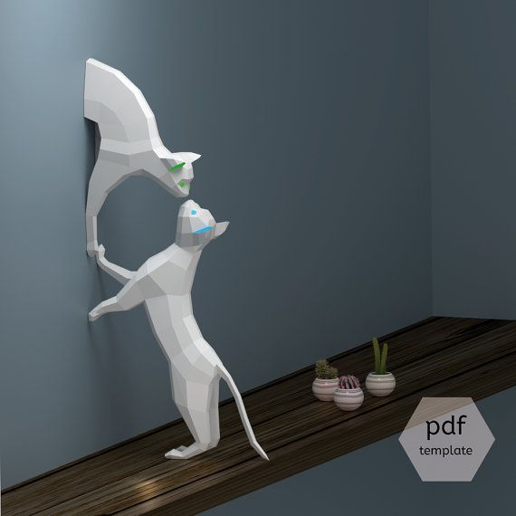 2 Paper sculptures DIY Papercraft Couple of Cats Low by OXYGAMI