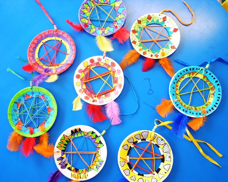 DREAM CATCHERS These Native American dream catchers are really popular with kids. Buy small paper plates and cut out the middles with a craft knife.  Then use a hole punch to create holes around t...