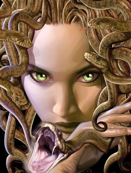 """""""The Medusa was the daughter of Phorkys and Keto, the children of Gaia (Earth) and Okeanos (Ocean). She was one of the three sisters known as the Gorgons. The other two sisters were Sthenno and Euryale. Medusa was the only mortal out of the three. """""""