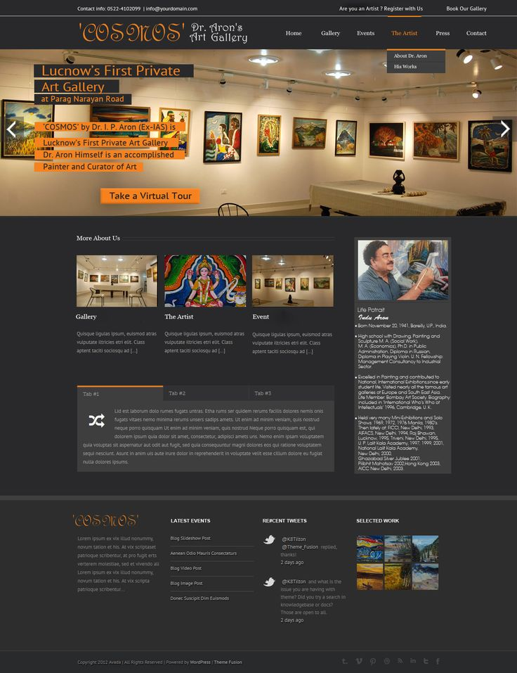 Mockup for an Art Gallery website