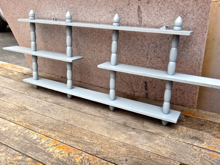 Shelf, Man Cave, Furniture, Gray Shelf, MCM Atomic Decor, MCM Shelf, Minimalist, Industrial, Steampunk, Knick Knack, Painted Furniture by MaxsUniquities on Etsy