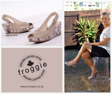 Ladies Stone Sling Back Wedge Peep Toe by Froggie Shoes.