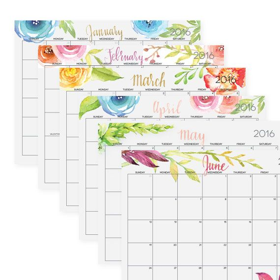 "Editable, Digital Monthly Pages, 2016 INCLUDED, Letter Size 8.5"" x 11 ..."