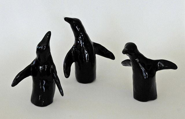 Handcrafted ceramic penguins by Nui Art Studio