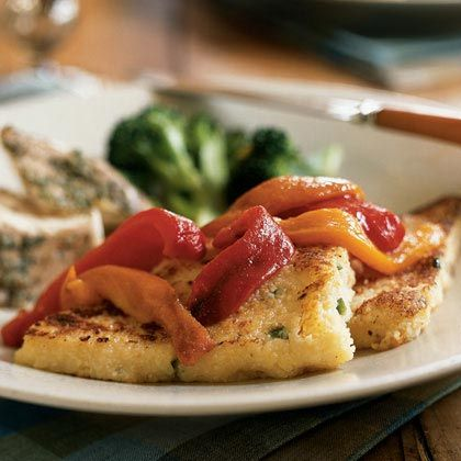 Cheddar Grit Cakes with Roasted Peppers | MyRecipes