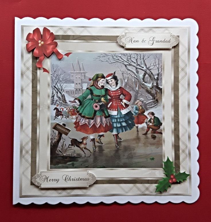 Handmade Christmas card for Nan & Grandad with vintage ice skaters