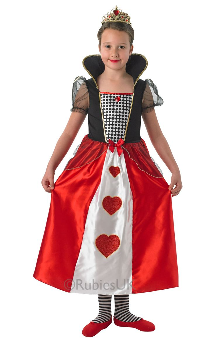 Queen of Hearts 610685 Hard to imagine any girl in this delightful Queen of Hearts costume inspired by Alice's Adventures in Wonderland being as scary as the one in Lewis Carroll's book.