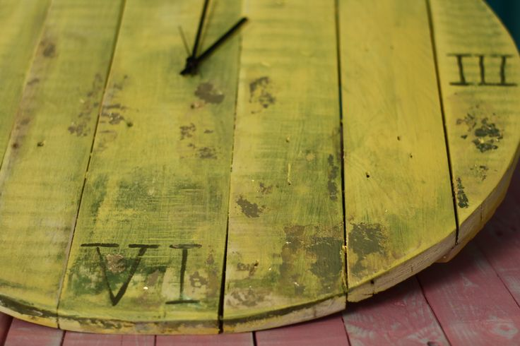 up cycled clock yellow gold  http://littlerocksdesigns.com