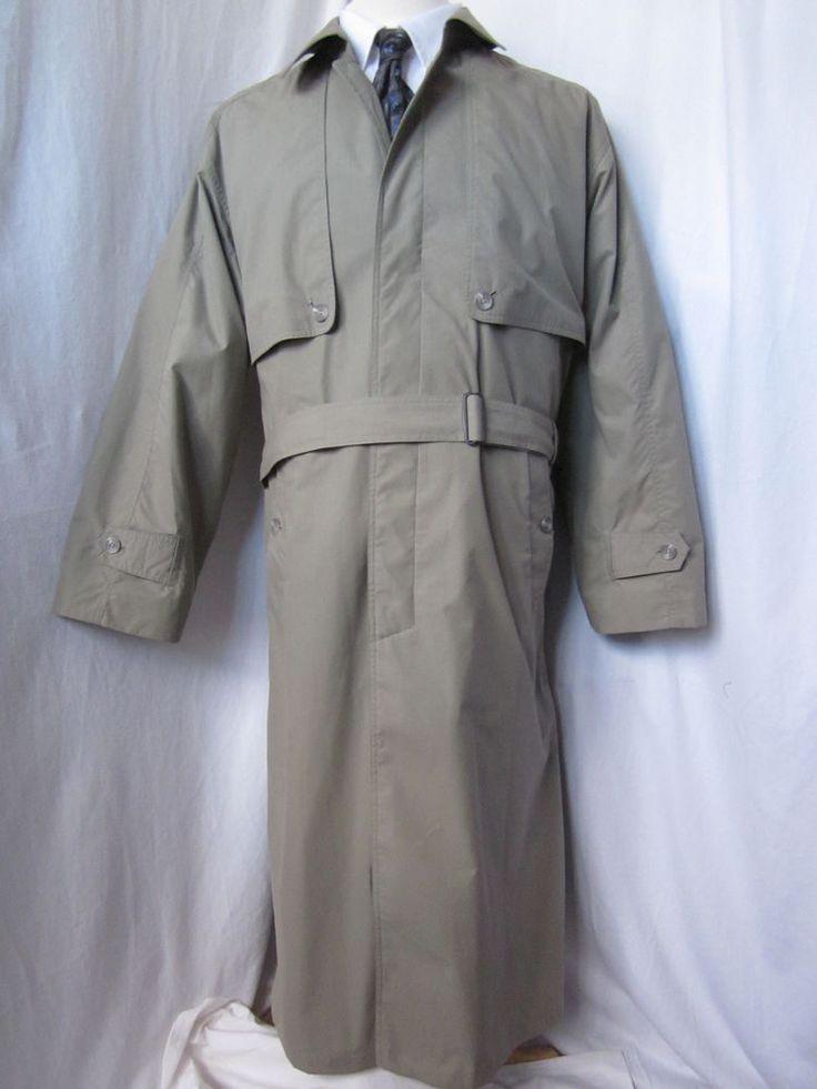 Coat Trench 40 R Utex Acuman Rain Overcoat Long Jacket Mens Khaki - eBay Seller Username janna!