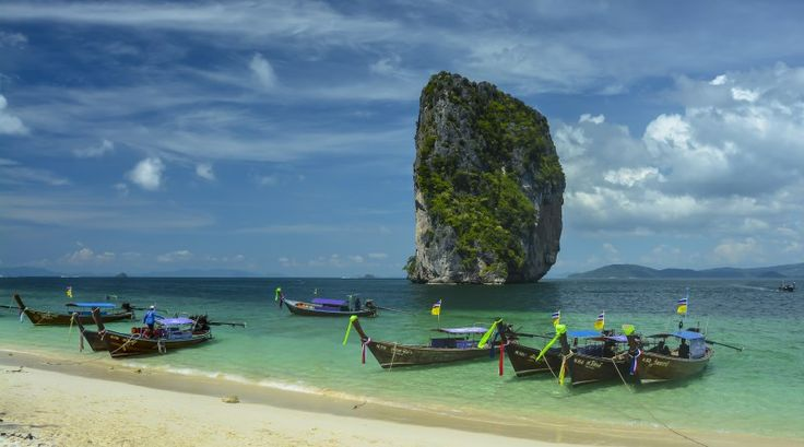Asia - Thailand - Boats on the beach on Ko Poda Island