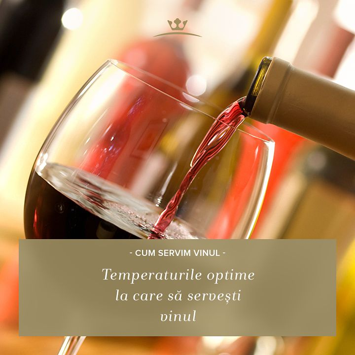 """Știai la ce temperatură e bine să servești vinul, în funcție de soi? Vinurile albe demidulci și cele spumante se servesc reci - la 6-8 grade, în timp ce vinul alb sec și cel rose se servește la o temperatură între 8 și 12 grade C. Vinurile roșii ușoare sunt puse în valoare de temperaturile între 10-12 grade, în timp ce un vin roșu tare, corpolent, se """"desfășoară"""" optim la temperatura camerei sau între 18-19 grade."""