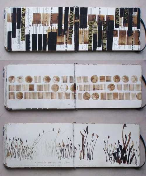 Art Sketchbook with drawings & mixed media work; artist journal pages // Elisabeth Couloigner