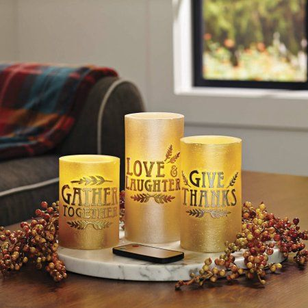 Better Homes And Gardens 3 Pack LED Pillar Candles, Embossed Sentiments